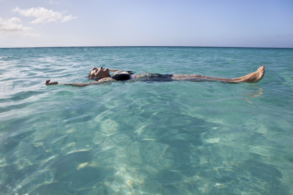 Floating and relaxing in the sea